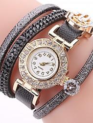 abordables -Femme Quartz Montre Diamant Simulation Bracelet de Montre Chinois Imitation de diamant Polyuréthane Bande Décontracté Bohème Mode Noir