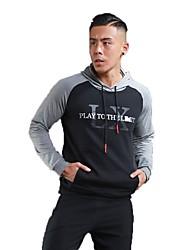 Per uomo T-shirt da corsa Manica lunga Allenamento Fitness Felpa con cappuccio per Corsa Esercizi di fitness Cotone Nero Nero/Rosso