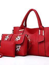 baratos -Mulher Bolsas Todas as Estações Couro Ecológico Conjuntos de saco 3 Pcs Purse Set Bordado Ziper para Compras Casual Preto Vermelho Marron