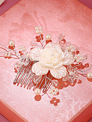 Imitation Pearl Rhinestone Plastic Alloy Hair Combs Flowers Headpiece