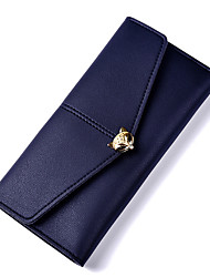 cheap -Women Bags PU Wallet Buttons for Formal Office & Career All Season Blushing Pink Dark Blue Light Purple Dark Grey Sky Blue