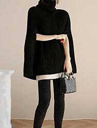 Standard Pullover Da donna-Casual Tinta unita Dolcevita Manica lunga Cotone Inverno Spesso Media elasticità