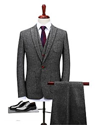 cheap -Gray Solid Standard Fit Polyester Suit - Notch Single Breasted One-button