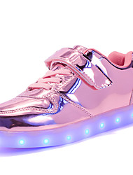 cheap -Girls' Shoes Customized Materials Patent Leather Winter Fall Light Up Shoes Comfort Sneakers LED Magic Tape Lace-up for Casual Outdoor