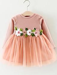 Недорогие -Девичий Платье Искусственный шёлк Полиэстер Длинный рукав Принцесса Уличный стиль Белый Розовый Серый