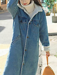 cheap -Women's Denim Jacket Coat,Casual Daily Solid-Cotton Wool Long Sleeves