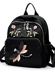 cheap -Women Bags Nylon Backpack Embroidery Zipper for Casual All Season Black