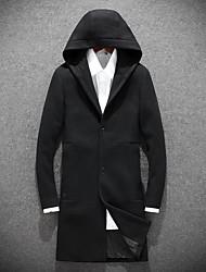 Masculino Longo Casaco Casaco Trench,Simples Sólido Para Noite Casual-Lã Poliéster Manga Longa