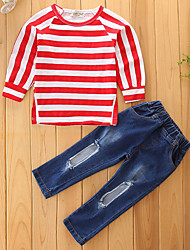 cheap -Girls' Striped Quilted Clothing Set,Cotton Polyester Fall Spring, Fall, Winter, Summer Long Sleeves Cute Casual Active Street chic Punk &