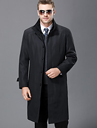 cheap -Men's Daily Simple Casual Winter Fall Coat,Solid Shirt Collar Long Sleeves Long Wool Polyester