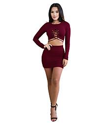 cheap -Women's Party Club Casual Summer All Seasons T-Shirt Skirt Suits