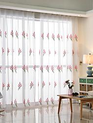 preiswerte -Schlaufen für Gardinenstange Ösen Schlaufen Zweifach gefaltet plissiert Window Treatment Moderne, Stickerei Blumen Schlafzimmer Polyester
