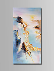 Hand-Painted Landscape Vertical,Abstract 1pc Canvas Oil Painting For Home Decoration