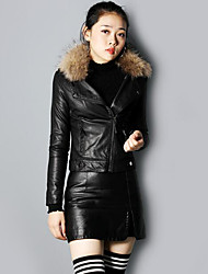 cheap -Women's Daily Going out Simple Casual Winter Fall Leather Jacket,Solid Shirt Collar Long Sleeves Short PU