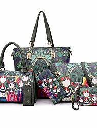 cheap -Women Bags PU Bag Set 6 Pieces Purse Set Pattern / Print for Casual All Season Dark Green