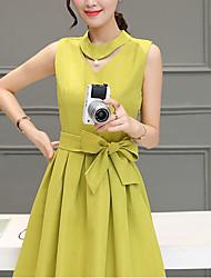 Women's Sports A Line Dress,Solid Round Neck Knee-length Short Sleeve Cotton Summer Mid Rise Micro-elastic Medium