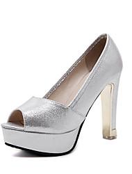 preiswerte -Damen Schuhe Kunstleder Frühling Herbst Pumps High Heels Stöckelabsatz Peep Toe Für Hochzeit Party & Festivität Schwarz Silber