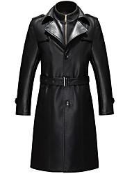 Недорогие -Муж. Длинная Кожаные куртки Воротник-стойка Изысканный - Однотонный