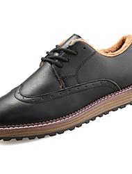 Homme Chaussures PU de microfibre synthétique Similicuir Polyuréthane Hiver Confort Oxfords Pour Décontracté Noir Marron Bleu