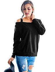 cheap -Women's Going out Casual/Daily Sexy T-shirt,Solid One Shoulder Long Sleeve Cotton Rayon Medium