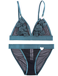 cheap -Women's 5/8 cup Bras & Panties Sets Padless Bra - Solid Colored Jacquard
