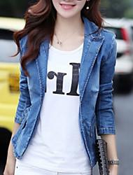 Feminino Jaqueta jeans Gramado Primavera,Sólido Padrão 20% Wool21% Poliéster 59% Viscose Colarinho de Camisa Manga Longa