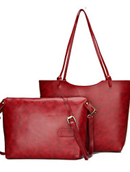 economico -Donna Sacchetti PU (Poliuretano) sacchetto regola Set di borsa da 2 pezzi Cerniera per Casual Tutte le stagioni Nero Caffè Marrone Vino
