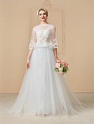 Linha A Princesa Ilusão Decote Cauda Capela Renda Tule Vestido de casamento com Miçangas Apliques Botões de LAN TING BRIDE®