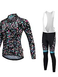 economico -Malciklo Maglia con salopette lunga da ciclismo Per donna Manica lunga Bicicletta Set di vestiti Inverno Vello Abbigliamento ciclismo