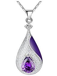 cheap -Women's Drop Infinity Vintage Elegant Pendant Necklace Cubic Zirconia Rhinestone Silver Pendant Necklace , Wedding Evening Party