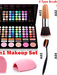preiswerte -3in1 Make-up Set (78 Farben 3in1 60 Lidschatten 12 Lippenstift 6 Rouge Make-up Kosmetik-Palette + 1 errötenpinsels + 1 Pinsel Ei)