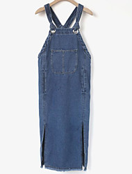 cheap -Women's Going out Denim Dress,Solid Strap Midi Sleeveless Cotton Winter Spring Mid Rise Micro-elastic Opaque