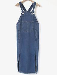 Toile de jean Robe Femme Sortie Couleur Pleine A Bretelles Midi Sans Manches Coton Printemps Hiver Taille Normale Micro-élastique Opaque