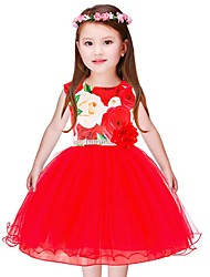 cheap -Girl's Floral Dress,Cotton Polyester Sleeveless Casual Blue Red
