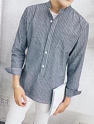 メンズ お出かけ カジュアル/普段着 シャツ,ストリートファッション スタンド ストライプ ポリエステル 長袖