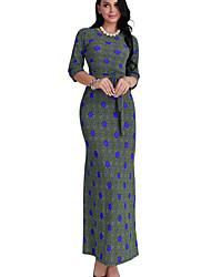 economico -Attillato Vestito Da donna-Ufficio Con stampe Rotonda Maxi Manica a 3/4 Poliestere Autunno A vita medio-alta Media elasticità Opaco