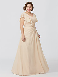 cheap -A-Line V-neck Floor Length Chiffon Mother of the Bride Dress with Appliques Pleats by LAN TING BRIDE®