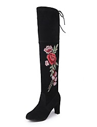 Women's Shoes Nubuck leather Rubber Winter Fluff Lining Boots Pointed Toe Thigh-high Boots Bowknot Satin Flower For Party & Evening Dress