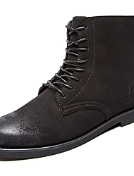 Men's Shoes PU Winter Comfort Cowboy / Western Boots Boots Booties/Ankle Boots For Casual Khaki Black