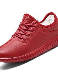 Feminino Sapatos TPU Primavera Outono MaryJane Solados com Luzes Tênis Ponta Redonda Para Casual Branco Preto Vermelho