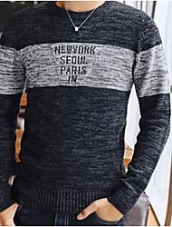 preiswerte -Herren Standard Pullover-Alltag Gestreift Rundhalsausschnitt Langarm Baumwolle Kunstseide Mittel Mikro-elastisch