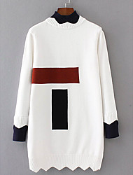 Women's Going out To-Go Casual Long Pullover,Color Block Round Neck Long Sleeves Acrylic Fall Thick Micro-elastic