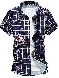cheap -Men's Daily Plus Size Sexy Chinoiserie Summer Shirt,Floral Plaid Square Neck Short Sleeves Cotton Polyester Medium