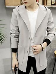 cheap -Men's Daily Going out Simple Casual Winter Fall Coat,Solid Regular Wool Polyester