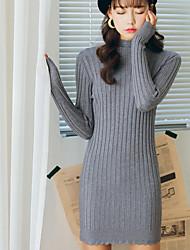 Lungo Pullover Da donna-Casual Tinta unita Dolcevita Manica lunga Acrilico Autunno Inverno Medio spessore Media elasticità