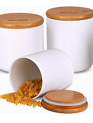 cheap -1set Kitchen Bamboo Ceramic Kitchen Canisters
