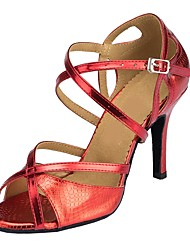 cheap -Women's Latin Synthetic Sandal Indoor Customized Heel Navy Red Silver Gold