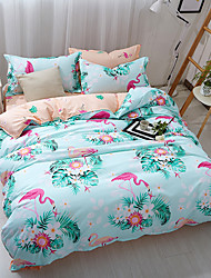 cheap -Duvet Cover Sets Floral 4 Piece Poly/Cotton Reactive Print Poly/Cotton 4pcs (1 Duvet Cover, 1 Flat Sheet, 2 Shams) (If Twin size, only 1