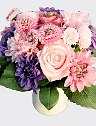 European Style Silk 8 Heads Green White Purple Pink Dahlia Rose Flowers Bouquet Wedding and Home Decoration