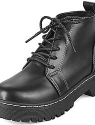 Недорогие -Жен. Обувь Полиуретан Зима Армейские ботинки Ботинки На плоской подошве Круглый носок Ботинки для Повседневные Черный